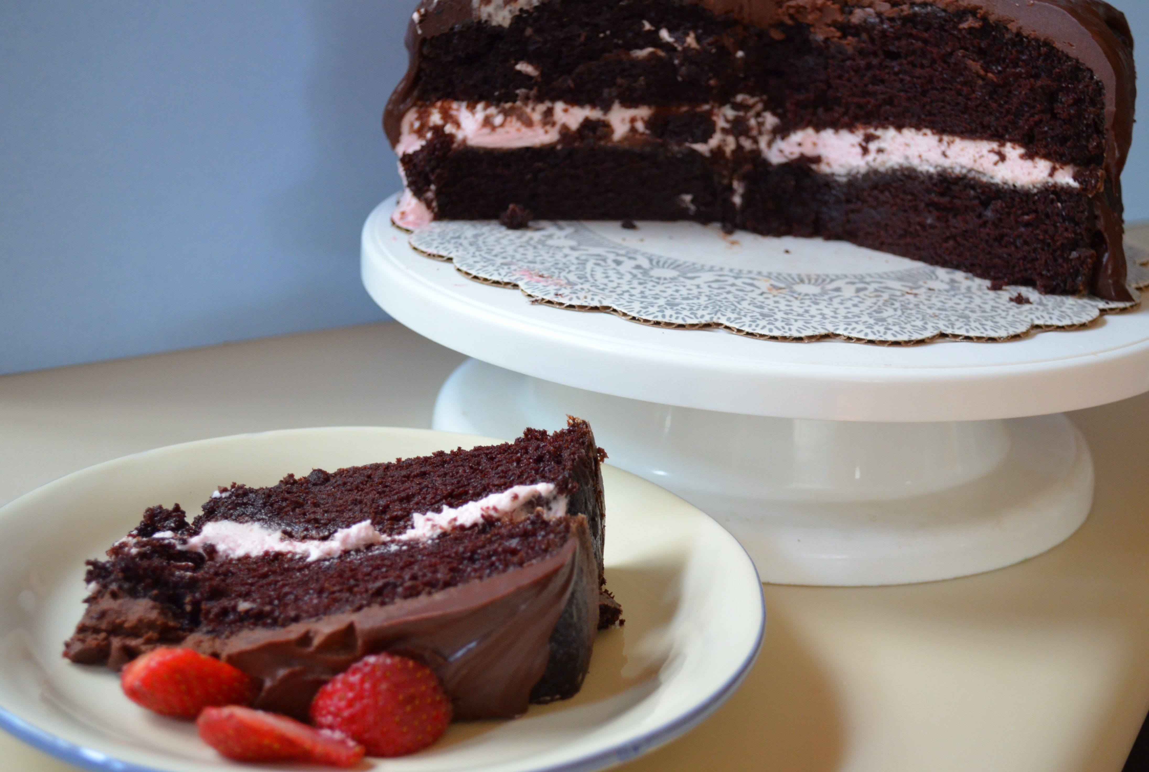 chocolate cake with strawberry filling chocolate cake with strawberry cheesecake mousse filling 2840