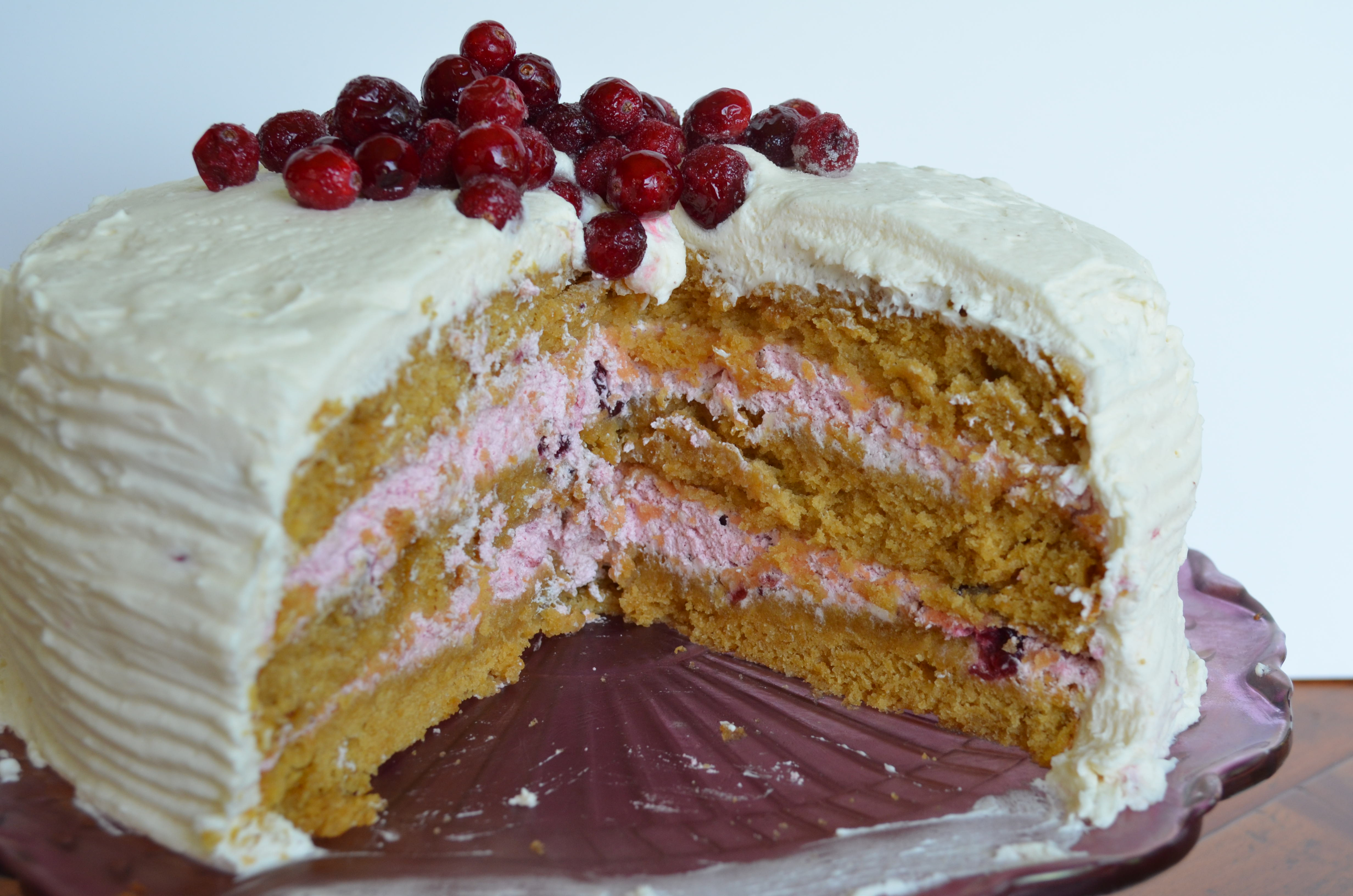 Pumpkin Cake With Cranberry Mousse Filling And Cinnamon Buttercream ...