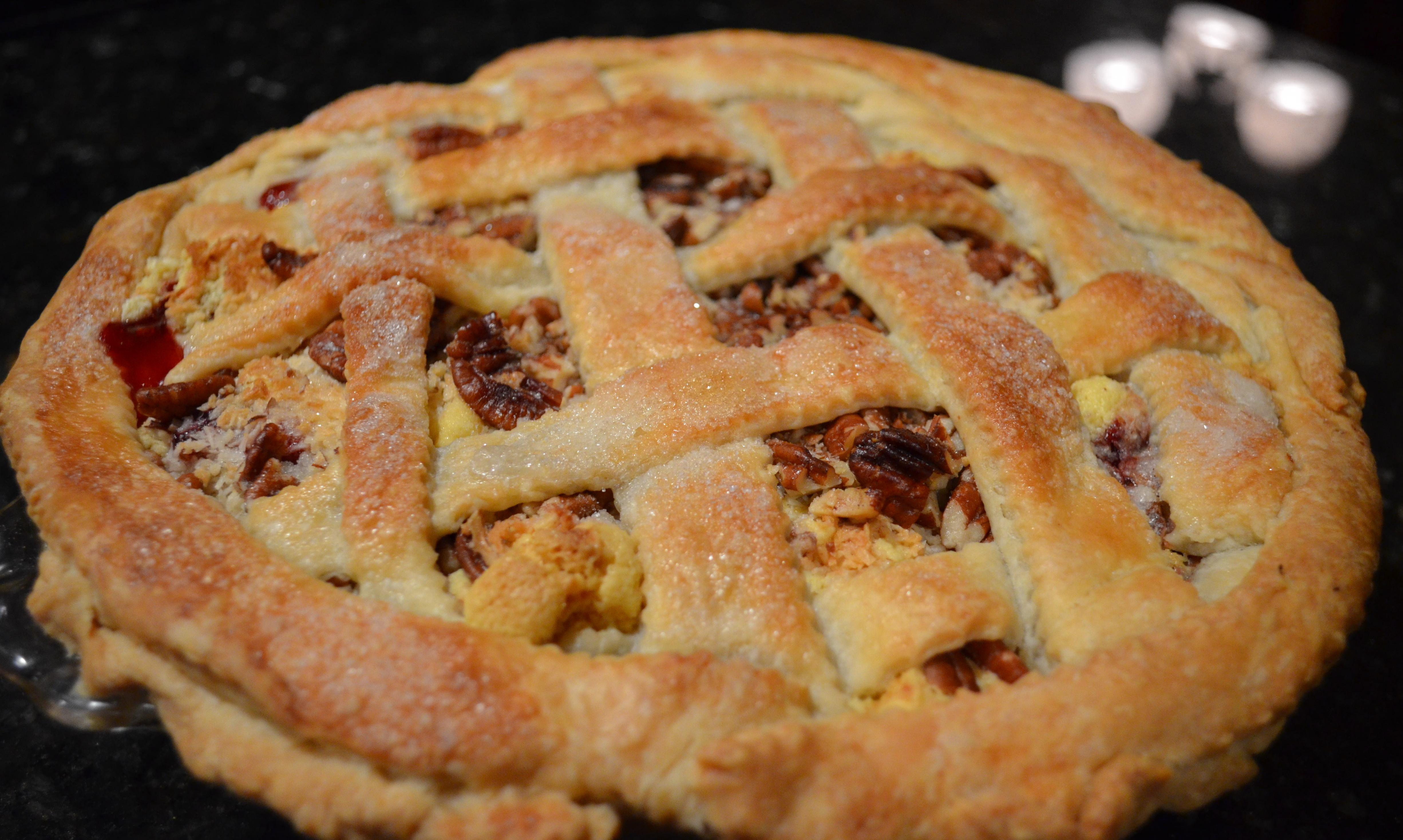 Cherry Raspberry Streusel Lattice Pie | I Sing In The Kitchen