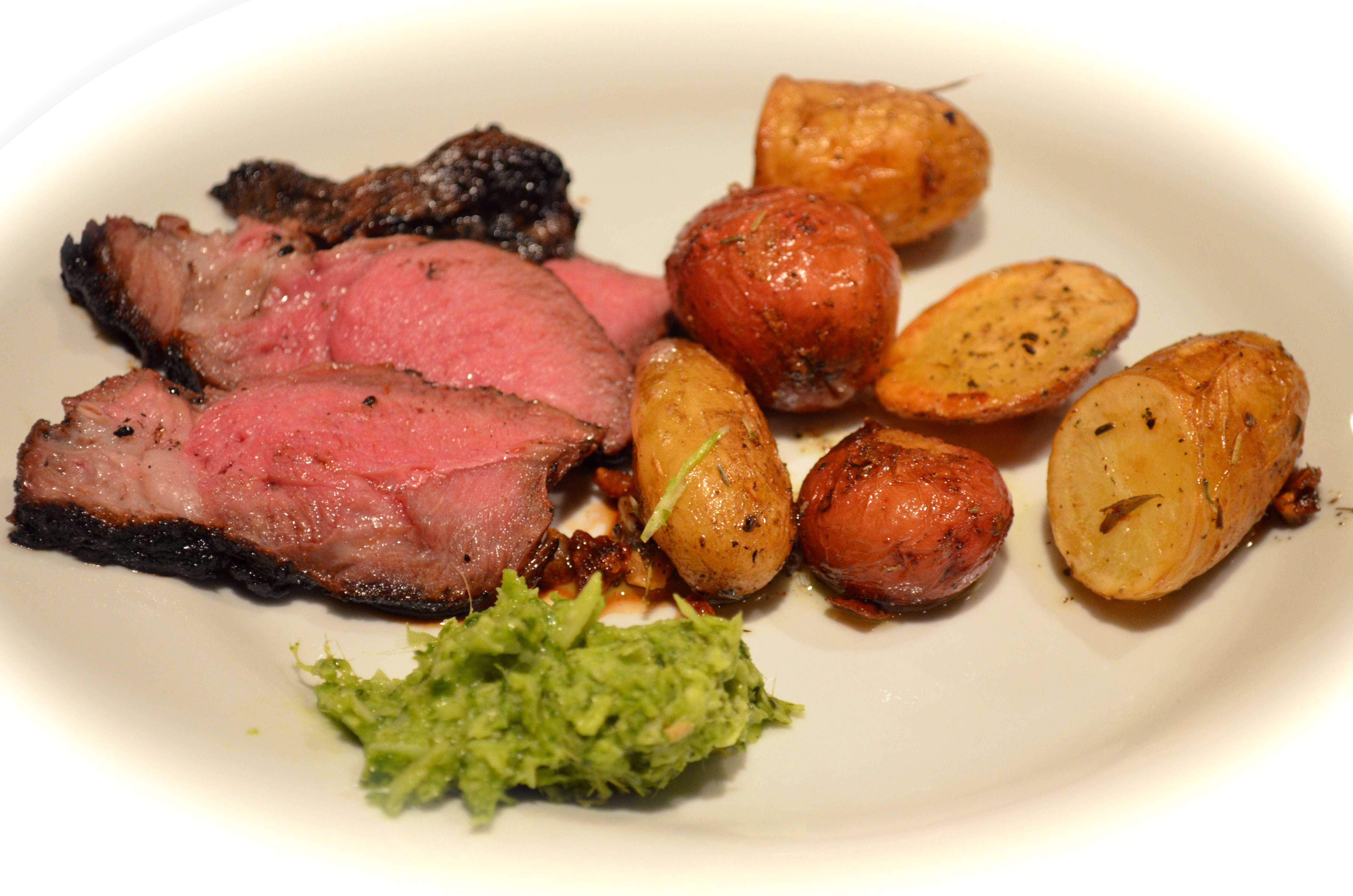 Grilled Lemon And Garlic Leg Of Lamb With Coriander Chutney And Roast ...