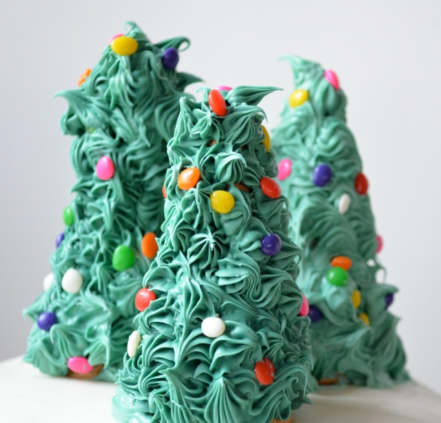 Christmas Cake With Christmas Trees