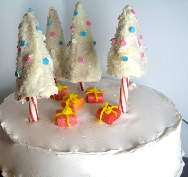 Christmas Cake With Candy Cane Christmas Trees