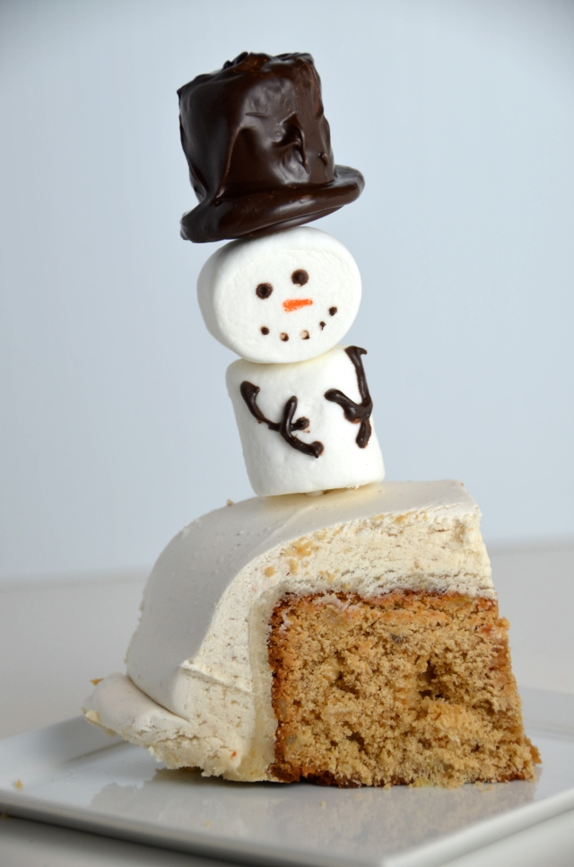 Ginger Wine Fruitcake With Marshmallow Snowman