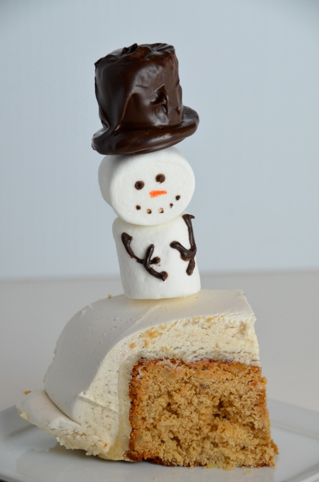 Ginger Wine Fruitcake With Marshmallow Snowmen