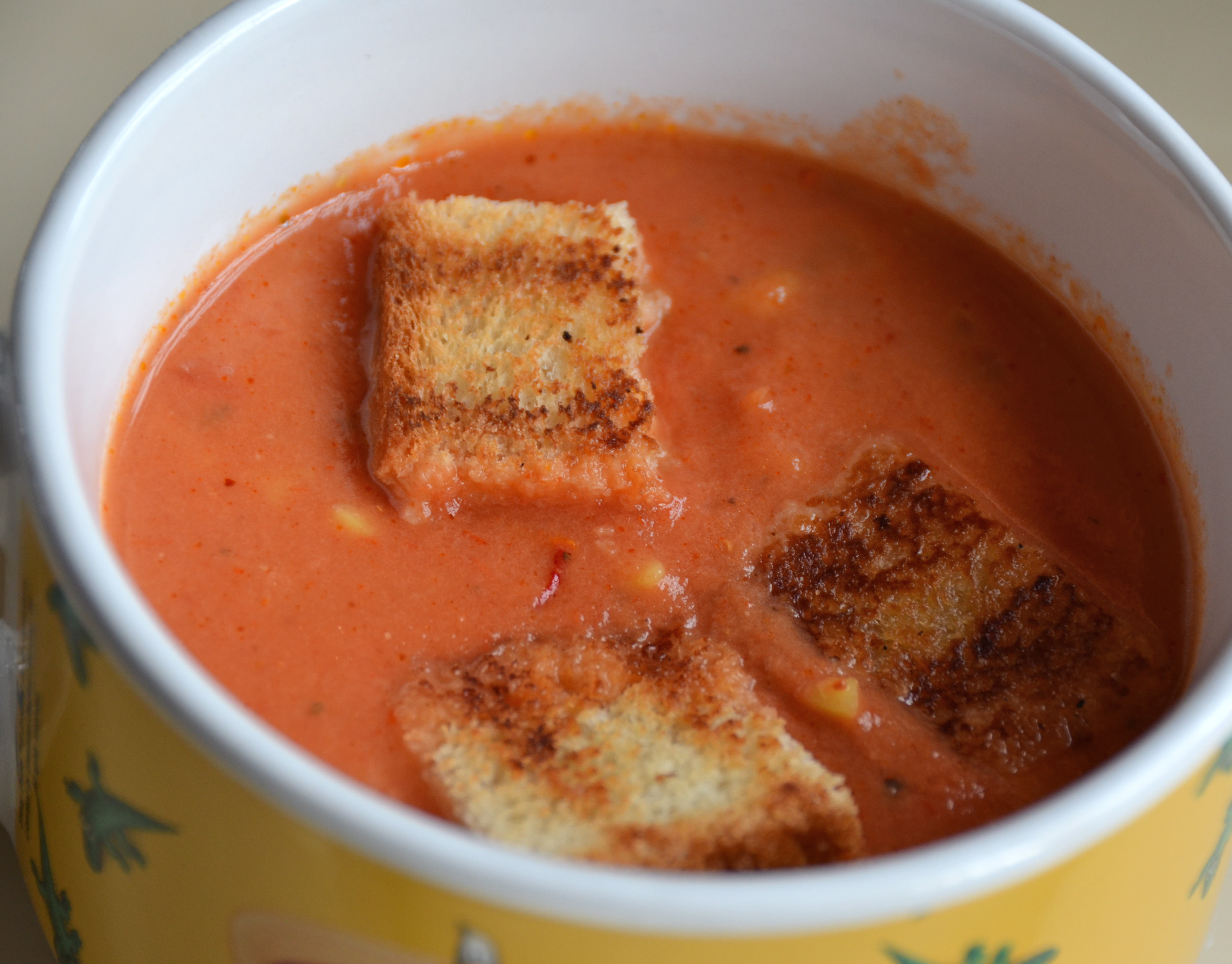 Easy Tomato Soup With Grilled Cheese Croutons. Warm Up With Some Mount ...