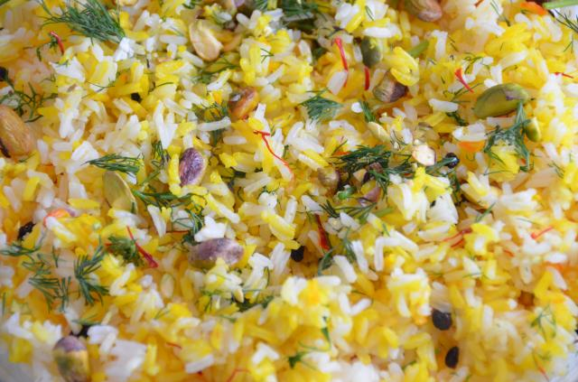 Maple-Dijon Glazed 'Man-P Saffron, Pistachio and Mixed Herb Rice