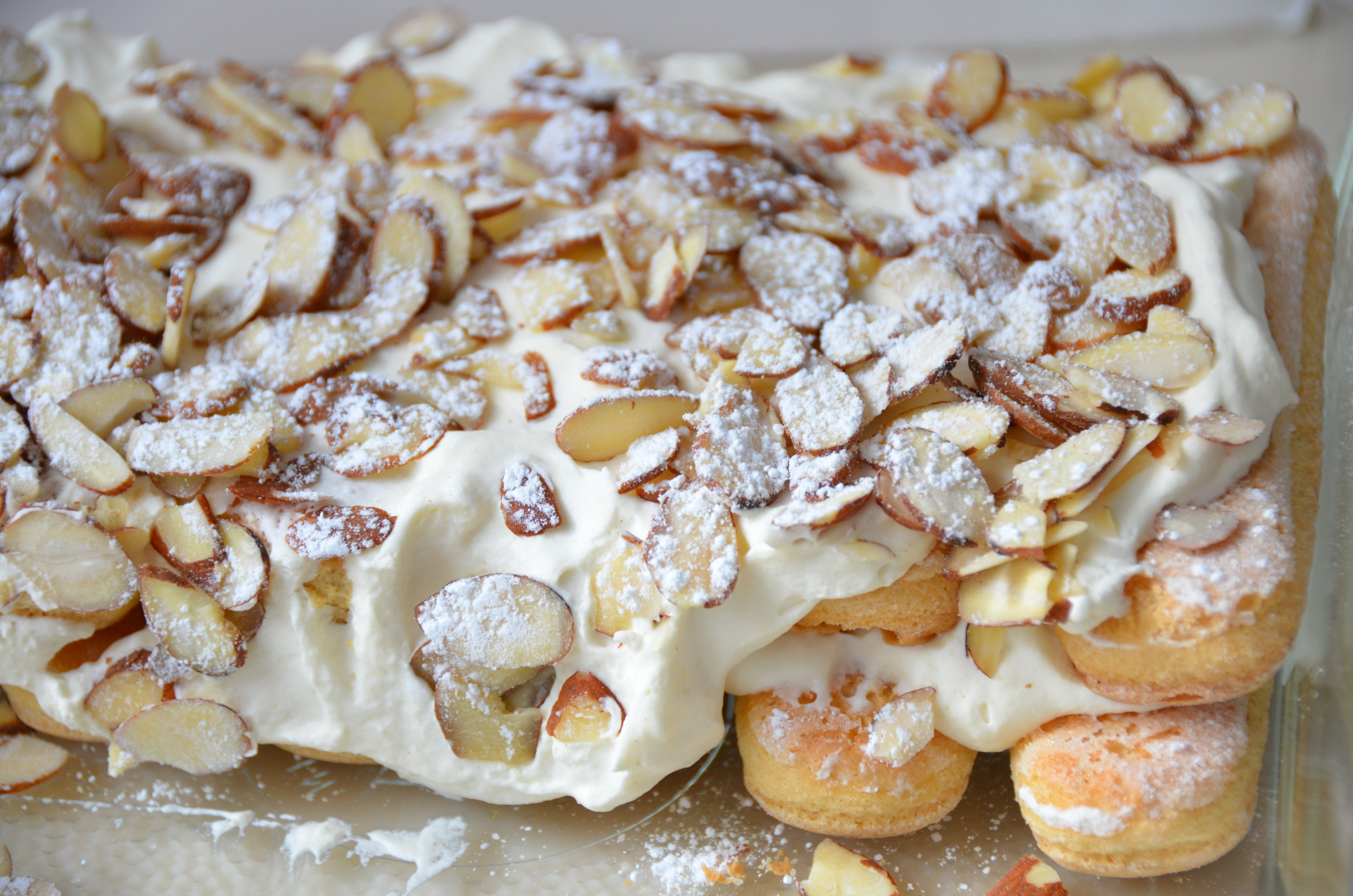 Toasted Almond Cream Cake With Lady Fingers Recipe