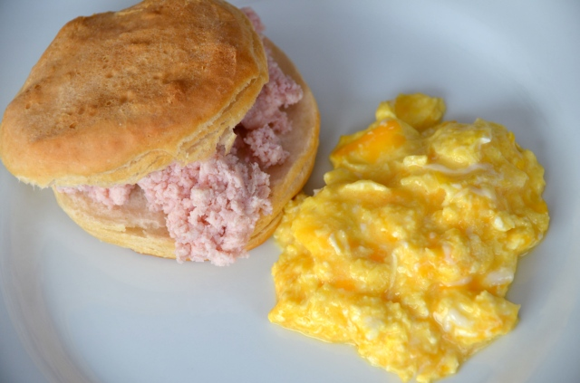 Perfect Scrambled Eggs. Biscuits With Ham Butter.