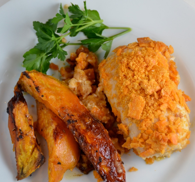 Cheesy Chicken With Baked Sweet Potato Fries