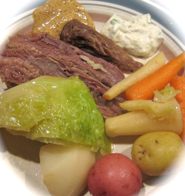 Homemade Irish Corned Beef And Vegetables With  Horseradish Cream &  Guinness Mustard