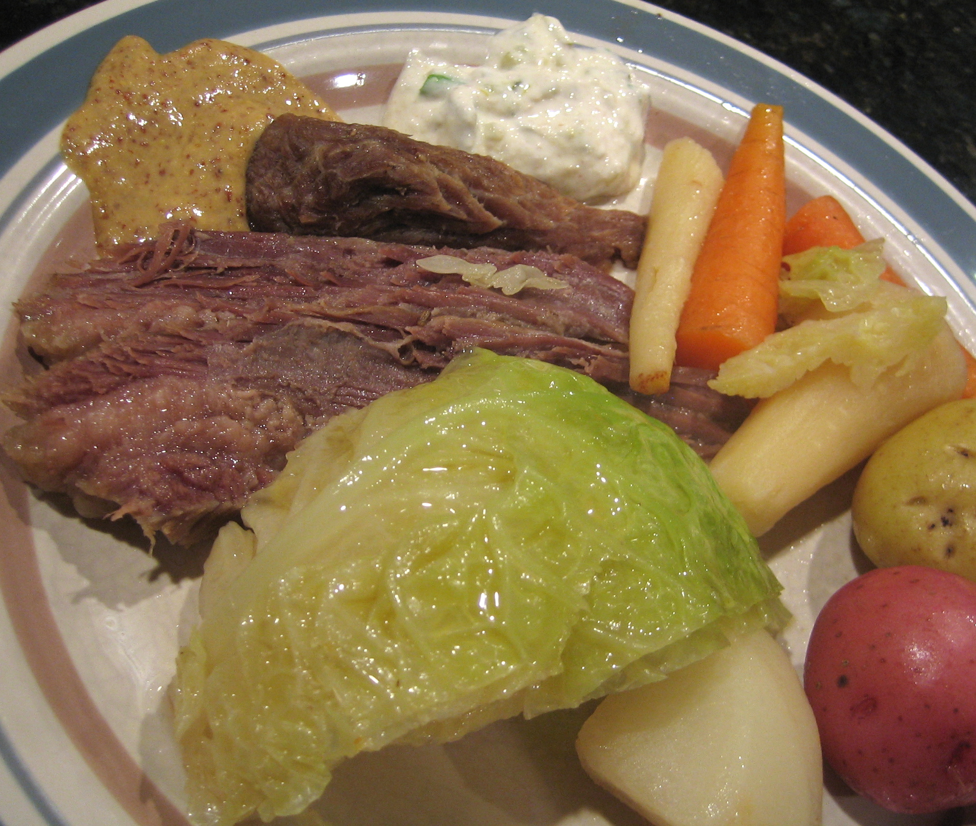 Homemade Irish Corned Beef And Vegetables With Horseradish Cream ...