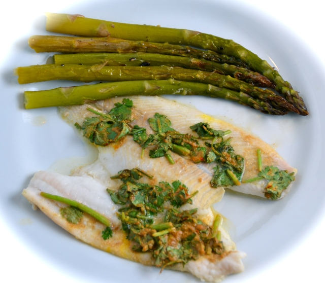 Moroccan Spiced Flounder Fillets With Buttery Baked Asparagus