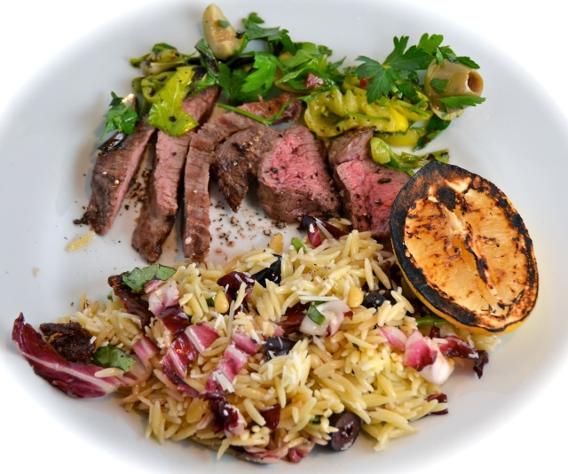 Grilled Steak With Olive Salsa. Orzo Salad With Everything.