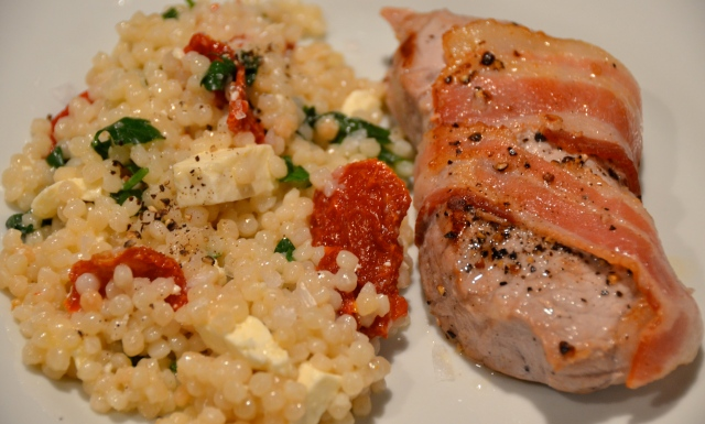 Bacon Wrapped Pork Loin Steaks With Lemony Giant Couscous
