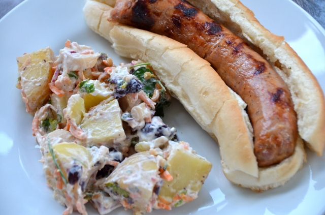 Grilled Sausage Sandwiches And Brazilian Potato Salad. Music From Fire ...