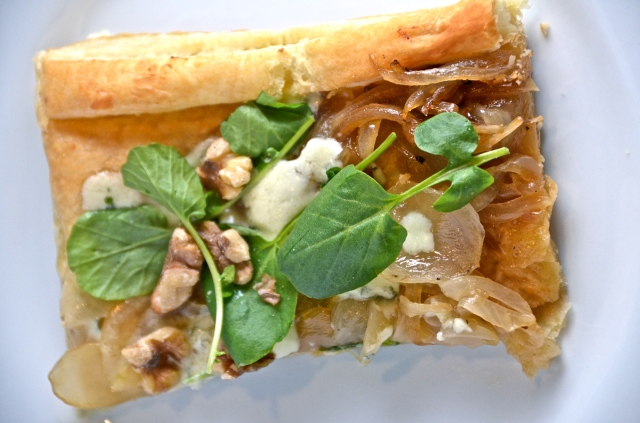 Blue Cheese Sweet Onion Tart With Watercress And Walnuts