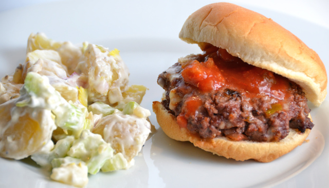 All in one Burger with potato salad