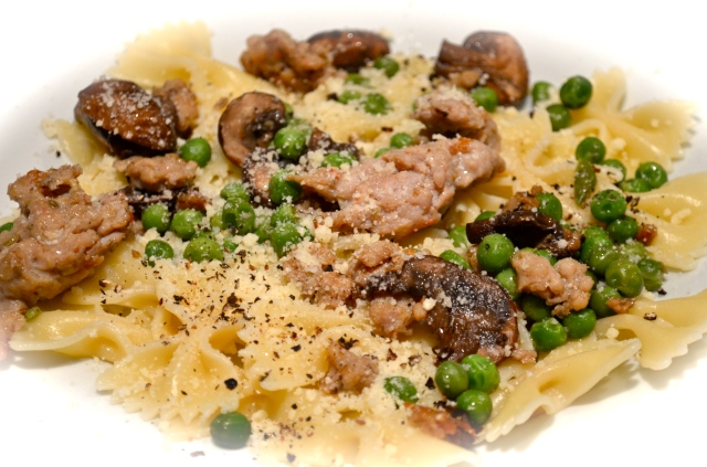 Farfalle With Sausage, Peas And Mushrooms