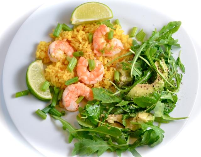 Sautéed Margarita Shrimp With Avocado Arugula Salad