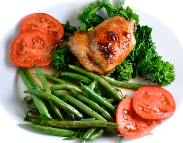 Sticky Roasted Thai Chicken With Garlic Chili Rapini And Lemon Green Beans