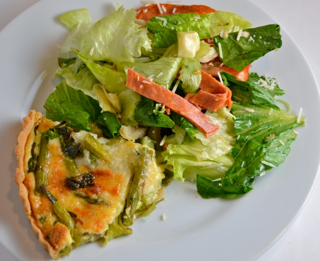 Asparagus And Spring Onion Tart With Mediterranean Salad