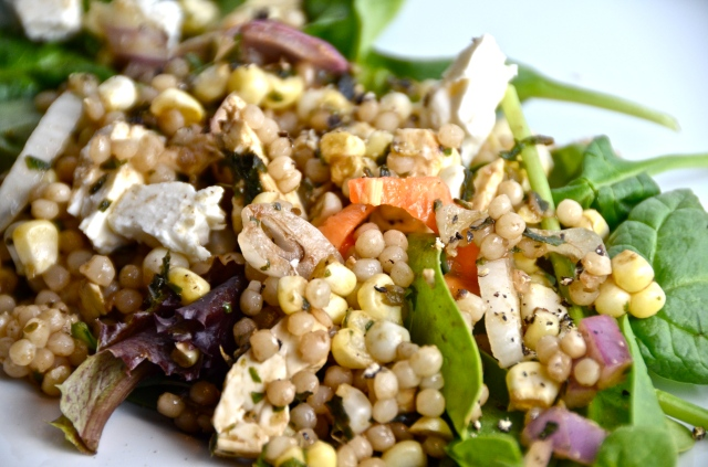 Hamburger Crunch And Corn, Feta and Couscous Salad With Basil Vinaigrette