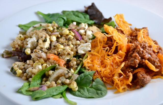 Hamburger Crunch And Corn, Feta and Couscous Salad With Basil Vinaigrette
