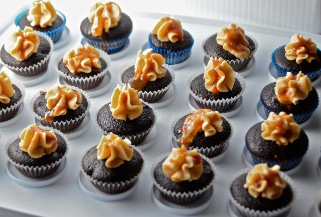 Mini Chocolate Salted Caramel Cupcakes