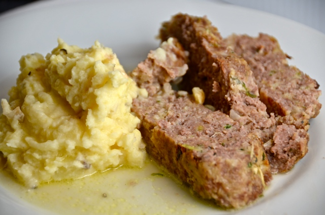 1770 House Meatloaf With Garlic Sauce And Truffled Mashed