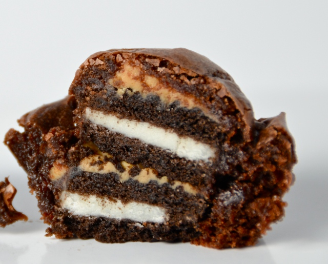Insane Oreo Peanut Butter Brownie Mini Cupcake