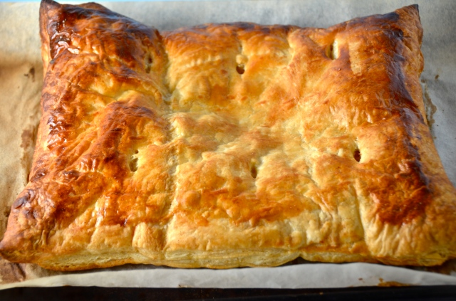Ham and cheese filled puff pastry
