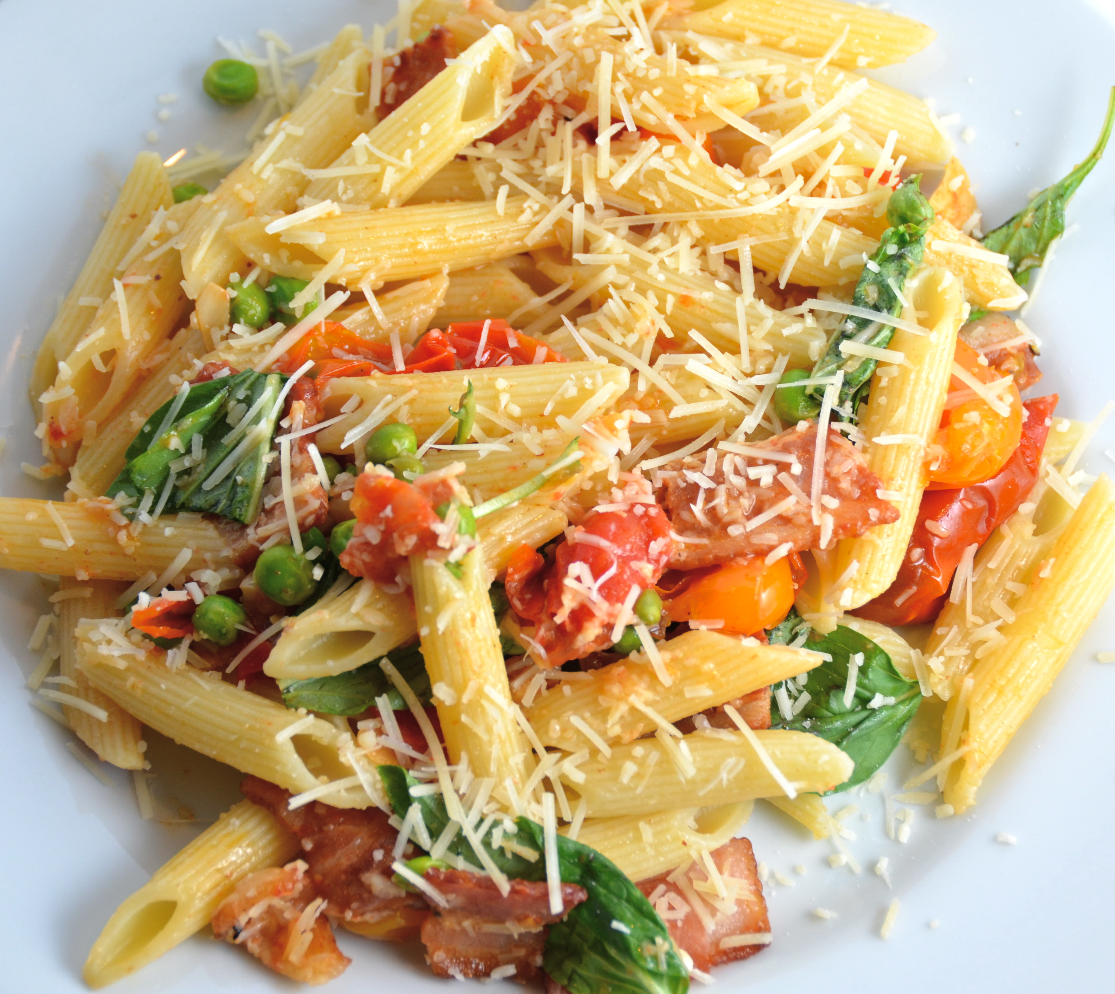 Penne With Grape Tomatoes, Bacon And Peas. Listening To ...