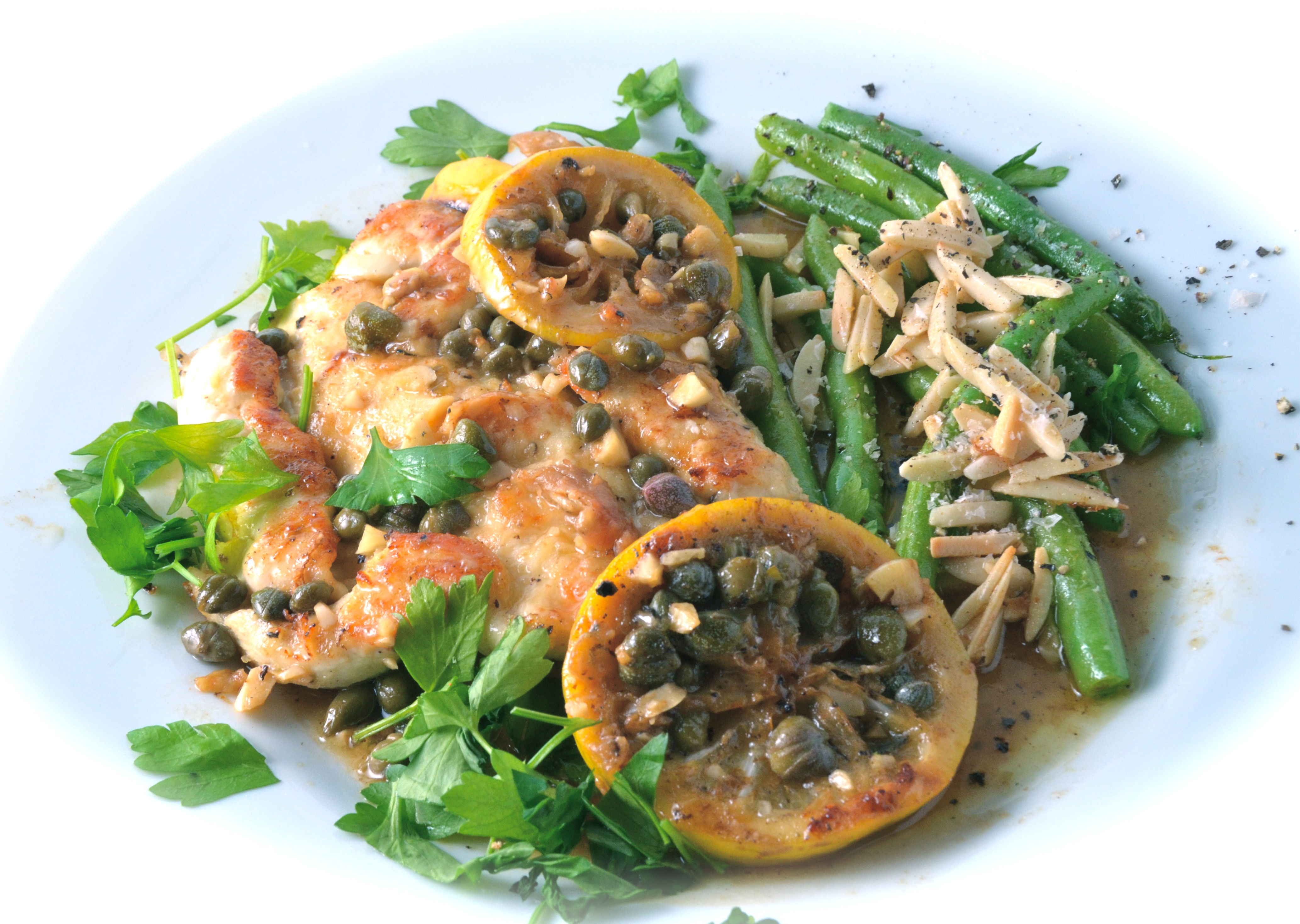 Chicken Piccata. Green Beans With Almonds, Oregano and Lemon. | I Sing ...