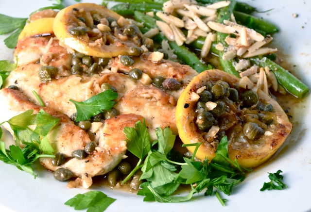 Chicken Piccata. Green Beans With Almonds, Oregano and Lemon.