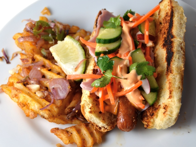 Bánh Mì Hot Dogs. Salt And Pepper Fries With Onion And Jalapeño.