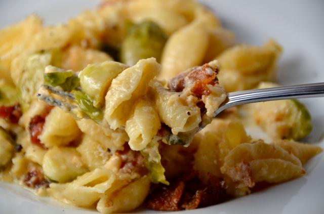 Fontina And White Cheddar Skillet Pasta With Bacon And Brussels Sprouts