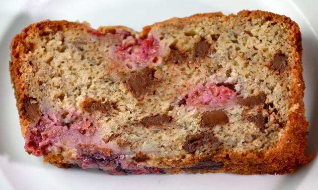 Raspberry- Dark Chocolate Banana Bread