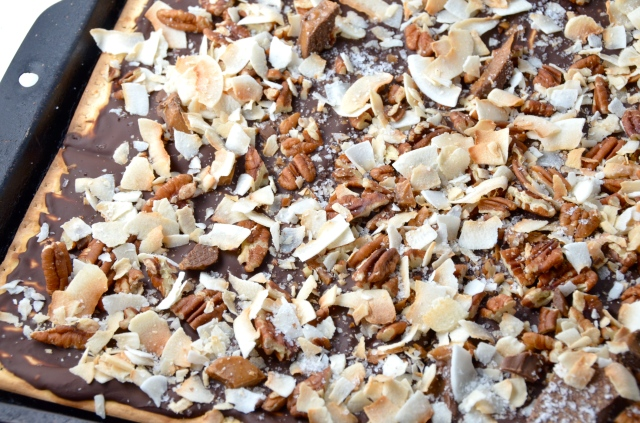 Chocolate, Toffee, and Coconut Matzo