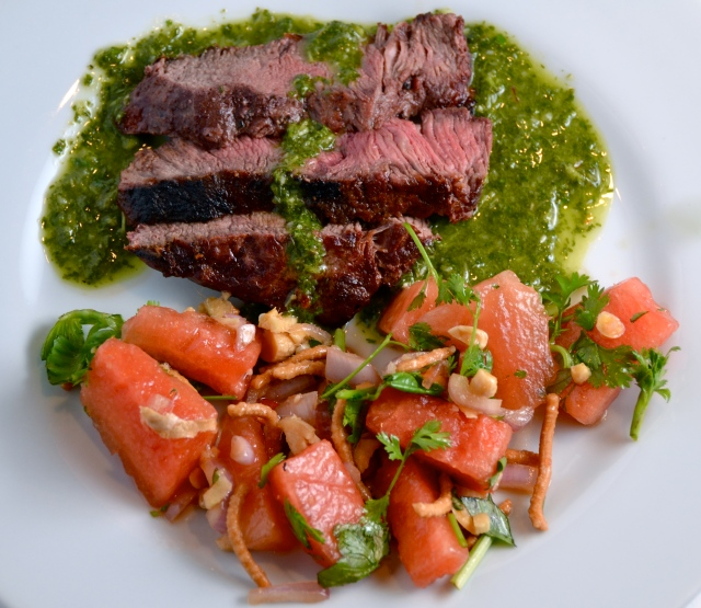 Grilled Steak with Cilantro Sauce And Asian Watermelon Salad