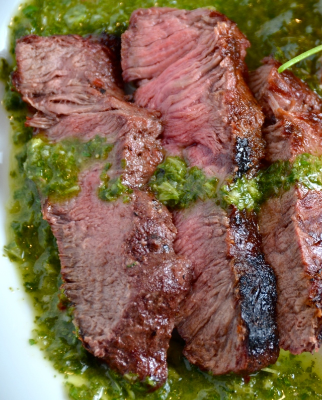 Grilled Steaks with Cilantro Sauce