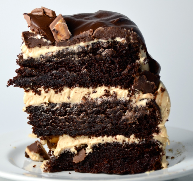 Chocolate Peanut Butter Cup Overload Cake