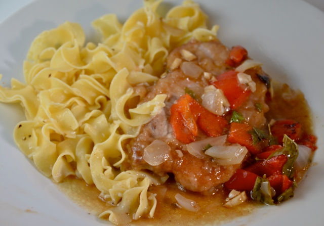 Balsamic Pork Scallopine With Cheesy Noodles