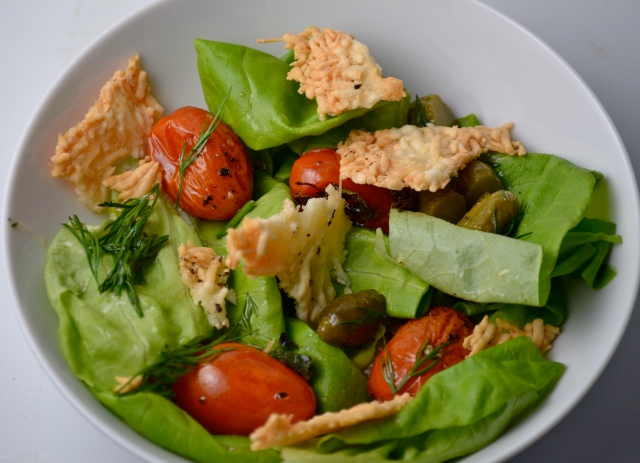 Butter Lettuce And Roasted Tomato Salad With Parmesan Crisps