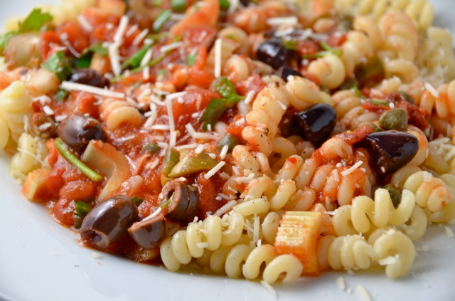 Fusilli With Olive And Caper Sauce