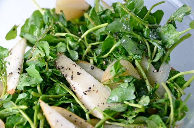 Watercress, Pickled Onion And Pear Salad