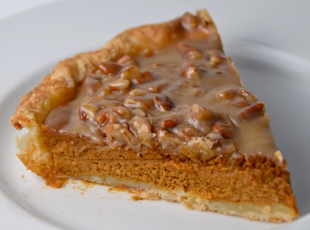 Pumpkin Pie With Pecan Praline Topping. Listening To Solid Gold Balls.