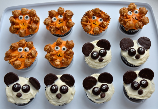 Lion And Panda Cupcakes
