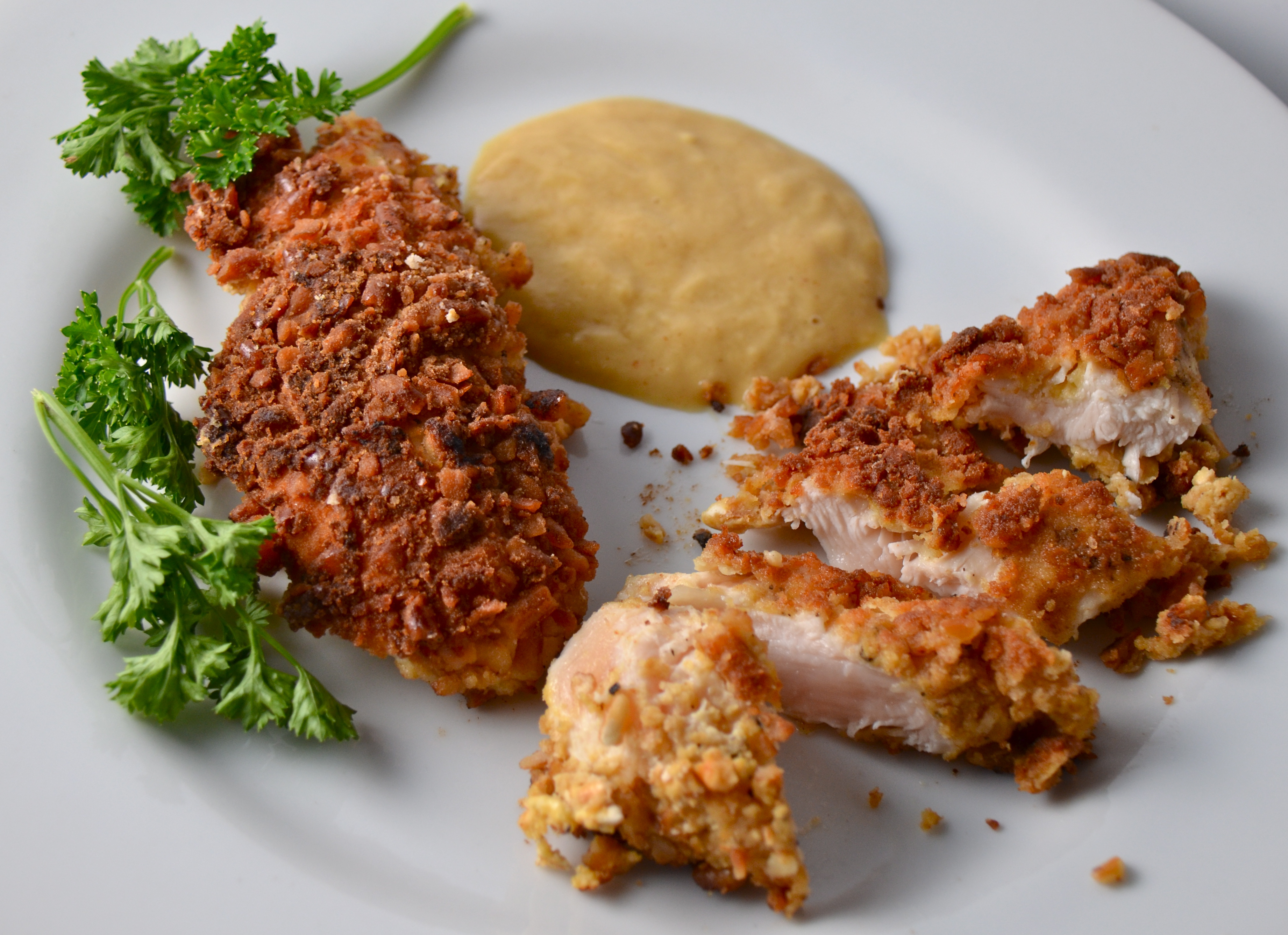 Pretzel-Crusted Chicken Fingers With Honey Mustard. Fantastic New Song ...