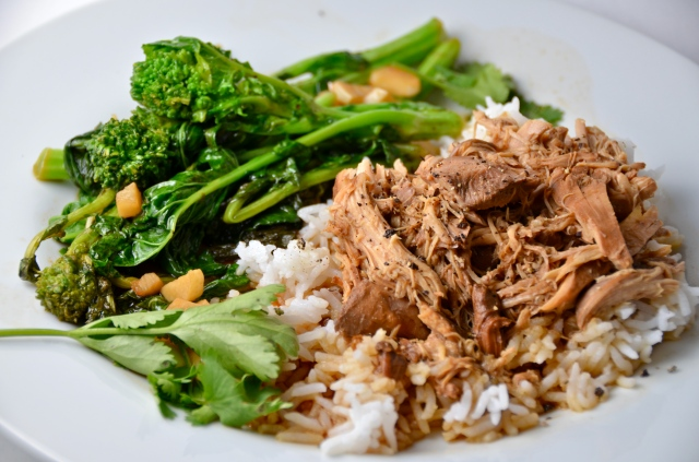 Slow Cooker Ginger Lime Chicken With Rapini And Garlic