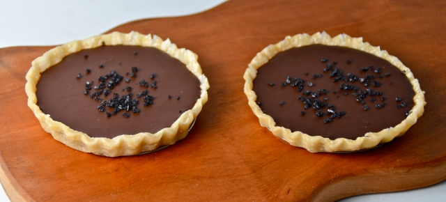 Dark Chocolate, Whisky And Black Salt Tarts
